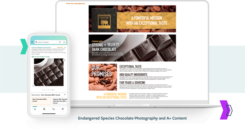 Amazon Agency Services: Endangered Species Chocolate Photography and A+ Content