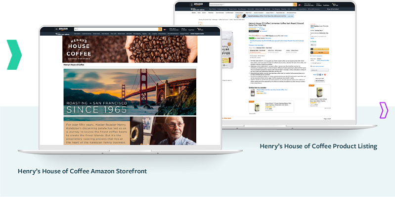 Henry's Amazon Agency Services: House of Coffee Storefront and Product Listing